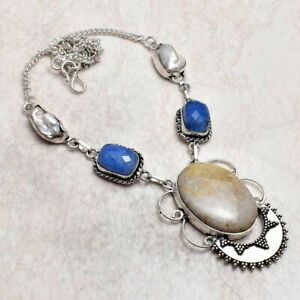 Fossil Coral Sapphire Ethnic Handmade Necklace Jewelry 34 Gms AN 93119