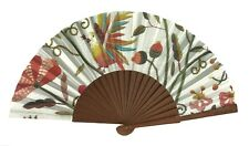 Hand Fan Made In Portugal Birds Acorns Colorful Flowers