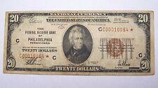 1929 Philadelphia $20 STAR SERIAL NOTE Dollar Federal Reserve Bank Bill Jones