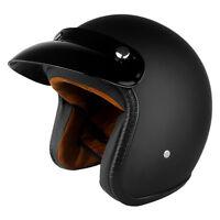 3/4 Open Face Motorcycle Helmet With Visor Matte Black DOT 3 Year Warranty