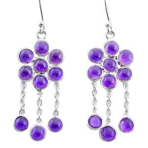 8.09cts Natural Purple Amethyst 925 Sterling Silver Chandelier Earrings T12343