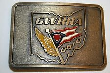 Goldwing Motorcycle Road Group Vintage GWRRA Ohio Brass Belt Buckle Rare Minty