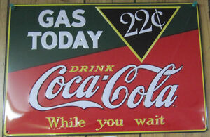 Embossed Tin Coca-Cola Gas Today 3-D Sign -NEW
