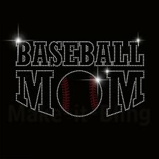 BASEBALL MOM RHINESTONE IRON ON HEAT TRANSFER SPORT MOM FOR SHIRT OR JERSEY