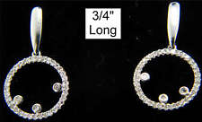 14k White Gold MICRO PAVE Dangle Diamond Earrings