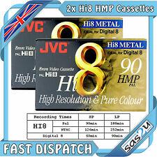 2 JVC alta 8 metal 90 min 8mm Videocámara cinta D5-90hmp en blanco cassette y