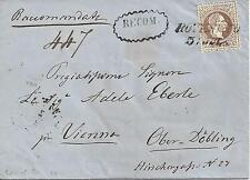 15 Kreuzer braun 1868 Reko Brief ( recom ) ROVERETO Italien nach Wien Döbling