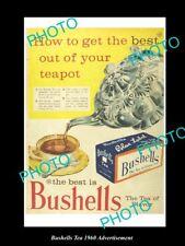 OLD LARGE HISTORIC AUSTRALIAN BUSHELLS BLUE LABEL TEA ADVERTISEMENT PHOTO, 1960