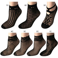 2 Pairs Women sexy Ladies Lace Glass Silk Flower Short Thin Transparent Socks UK