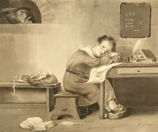 Attrib. Mary Heber, Dutch Schoolroom with Dreaming Boy – c.1830s watercolour