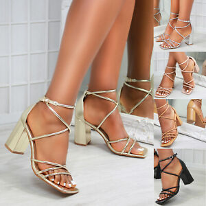 New Womens Block Heel Square Toe Strappy Sandals Shoes Sizes 3-8
