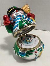 """Ceramic Snowman Music Box With Interior Carousel-Mr Christmas """"Fa La La La�"""