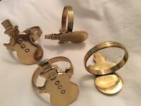 Vintage solid brass Gold snowman napkin rings holders set 4 Christmas holidays