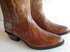 New NOCONA 8 EE Brown LIZARD Leather Made In USA Cowboy Boot OLD STOCK
