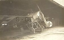 WWI Ger RPPC- Airfield Hanger- Airplane- Imperial German Monoplane- Iron Cross