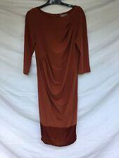 COS Midi Dress Terracotta Unusual Pleated Design EU 40 UK 12-14