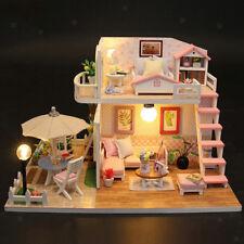 DIY Miniature Dollhouse Wooden Model Kits Puzzle Toy Kids Pink Attic Model