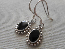 BOMA Sterling Silver Small Oval Black Onyx Dangle Earrings  RE58F