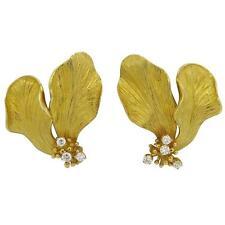Tiffany & Co. Diamond 18k Yellow Gold Flower Earrings