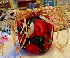 Adorable Apple Decoration With Apple Material, Wooden Stump And Raffia Bow