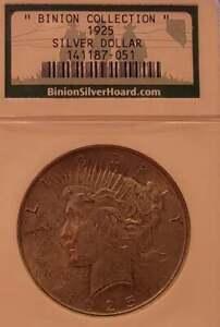 1925 P Peace Silver Dollar Binion Collection