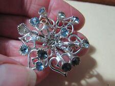 """star/flower shaped w/light blue stones Vintage silvertone 2"""" pin broach brooch"""