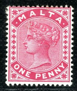 MALTA QV 1d Stamp 1885 Mint MM {samwells-covers} BLBLUE26