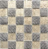 Glasmosaik grau beige resin WC Bad Küche Wand Fliesenspiegel WB78B-0702|1 Matte