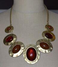Heavy Medallion Choker Necklace Gold Tone Acrylic Topaz Cabochon