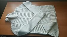 Vince NWT $345 Chevron Wool Blend Turtleneck Pullover Soft Grey S