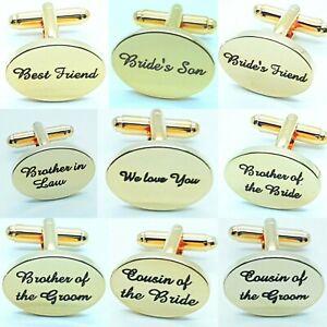 SHINEY Engraved Custom GOLD Cufflinks Gift Wedding Personalised Best Man dad UK