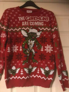 Gremlins Gizmo Spike Movie Christmas Jumper Large 80's Excellent Condition