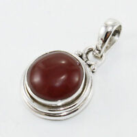 Solid 925 Sterling Silver Red Onyx Gemstone Pendant Necklace Jewelry