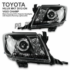 BLACK PROJECTOR ANGEL EYE HEADLIGHT LAMP KUN FOR TOYOTA HILUX VIGO MK7 12-15