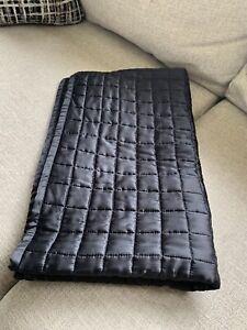 RH SILK BOX-STITCH KING SHAM Black NWOT  Restoration Hardware $149