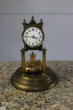 New Listingantique German 400 day anniversary torsion disc glass dome mantle clock