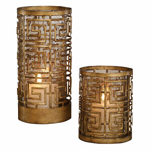 Open Gold Greek Key Fretwork Candle Holders Set 2   Copper Bronze Hurricane