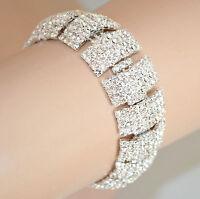 BRACCIALE donna ARGENTO strass CRISTALLI cerimonia ELEGANTE pulsera bracelet 360