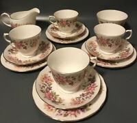 colclough Floral porcelain china tea set cups saucers Side Plate Trios Vintage