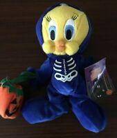 Warner Bros TWEETY BIRD 1999  Skeleton  BEAN BAG PLUSH Looney Tunes Halloween