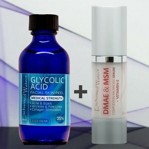 Glycolic Acid 35% Plus DMAE MSM Serum Cream Anti Aging Acne Scars Wrinkles