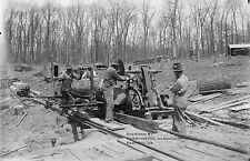 1910's Black & White Photo Reprint 8.5x11 Portable Sawmill Crew Logging Trees
