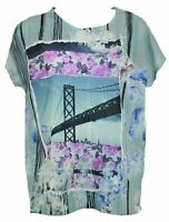 B L E U  Womens Multi Color Floral Short Sleeve Top Casual Summer Size Small