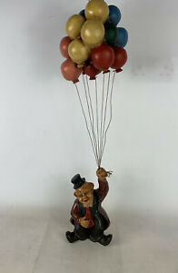 Vintage Hanging Clown With Ballons Retro Ornament