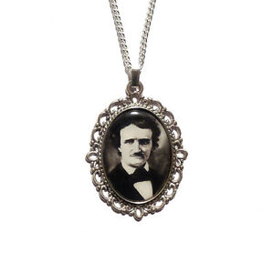 Edgar Allan Poe necklace steampunk gothic goth The Raven nevermore poems silver