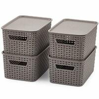 Set of 4 Weaved Plastic Baskets with Lids, Small Storage Containers Bins