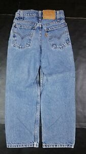 Vtg Levi's Kids 550 Orange Tab Relaxed Fit Stonewash Blue Jeans 8 Regular 90s