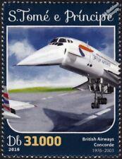 BA British Airways CONCORDE Arliner Aircraft Stamp #2 (2016 St Thomas & Prince)