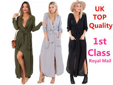 Womes Maxi Split Long Sleeve Shirt Wrap Kaftan Dress Tunic T-Shit Chiffon Top UK