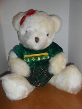 Large white Christmas Bear w/ green dress, Golden Bear Co. 25 inch
